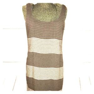 Anne Klein Maxi Dress Brown Striped C1-139